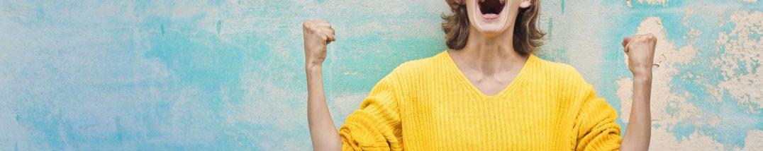 Erfolg der Grünen Wirtschaft, freuende Frau