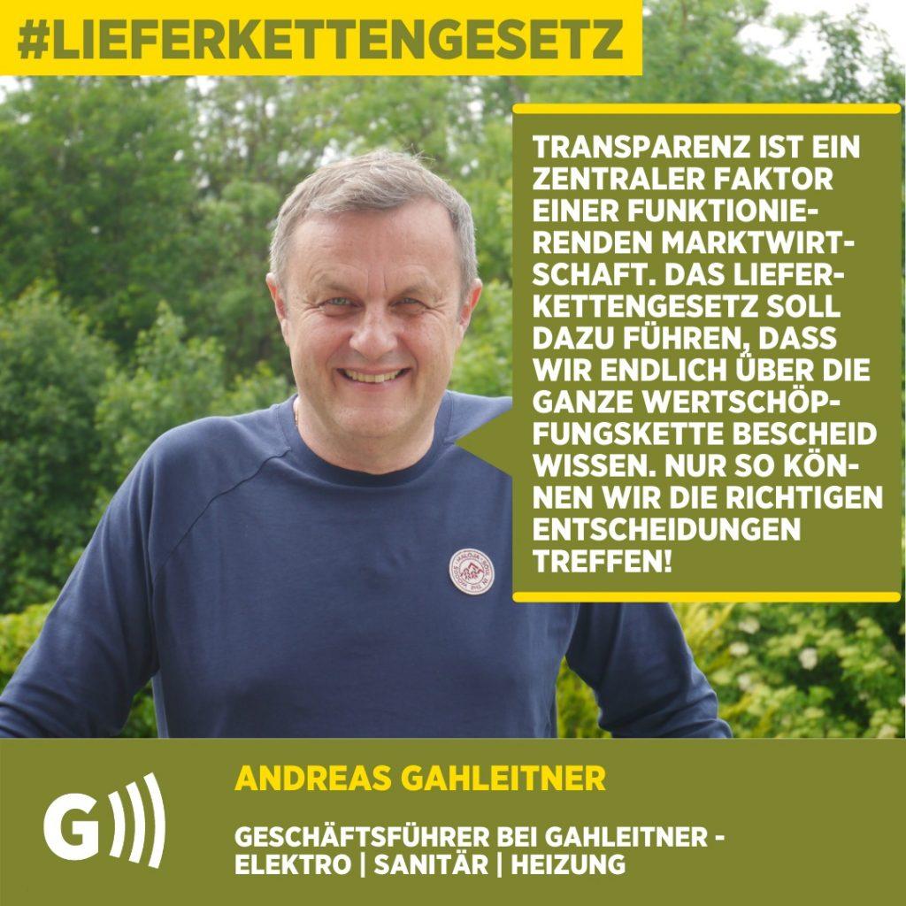 Lieferkettengesetz Andreas Gahleitner